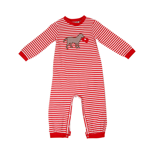 Red Stripe Lab and Love Letter Long Romper