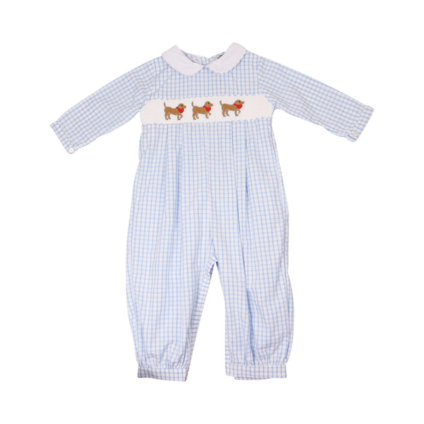 Blue Windowpane Smocked Heart Lab Long Romper