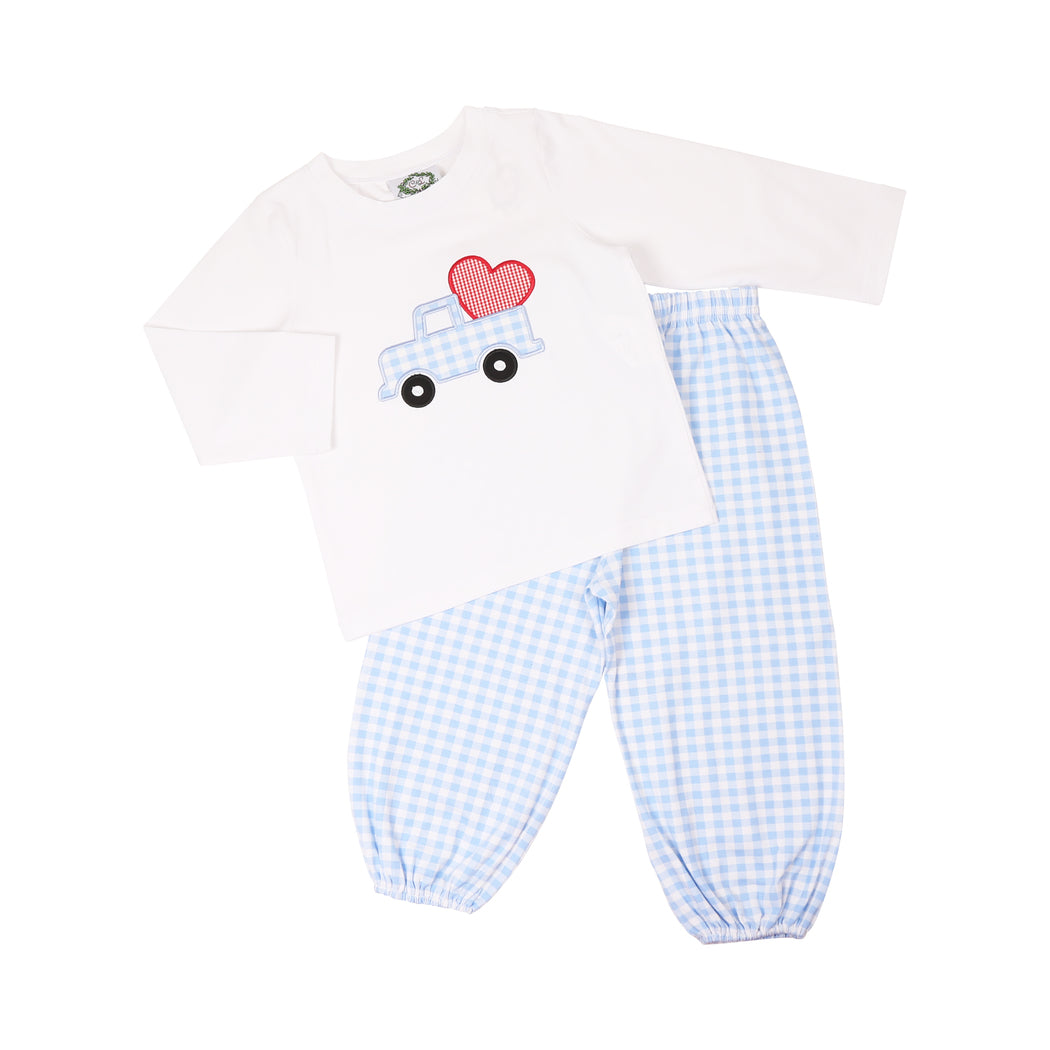 Blue Check Heart Truck Pant Set
