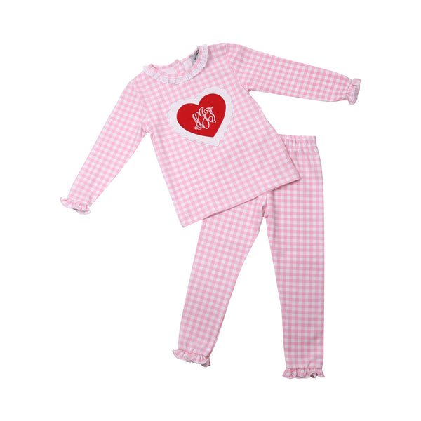Pink Check Applique Heart PJ Set