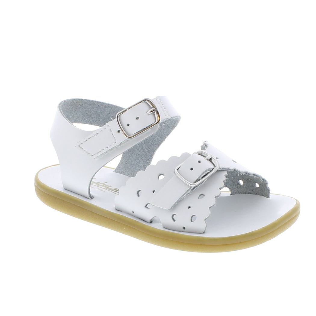 White Leather Perf Sandal with Velcro Strap