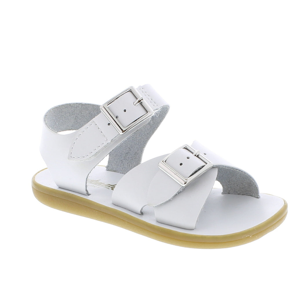 White Leather Sandal with Velcro Strap