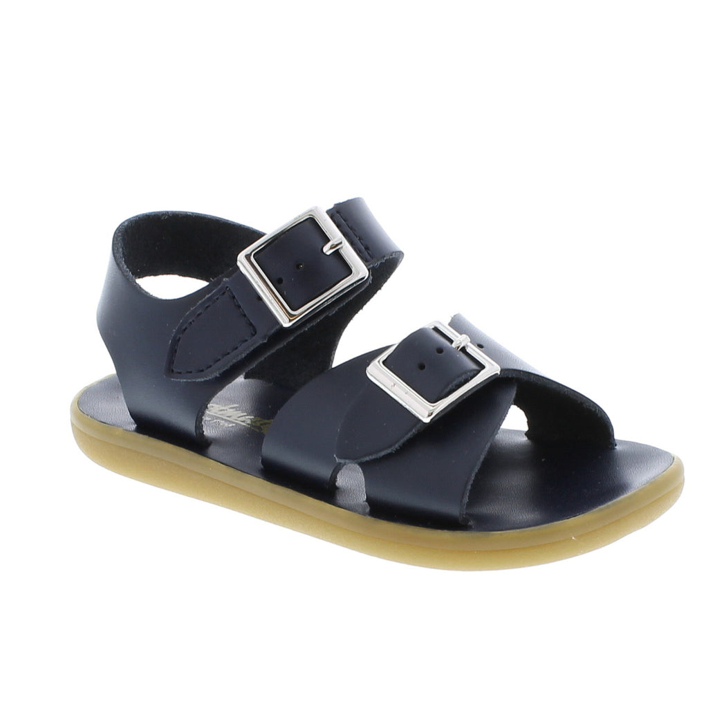 Navy Leather Sandal with Velcro Strap