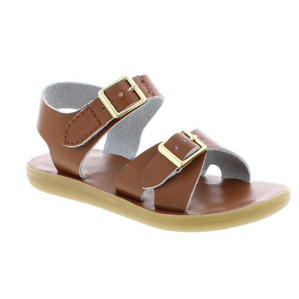 Tan Leather Sandal with Velcro Strap