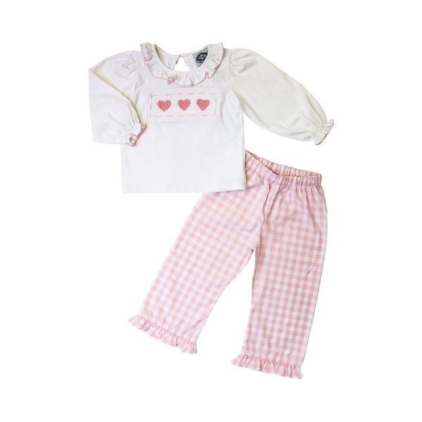 Pink Plaid Smocked Heart Pant Set