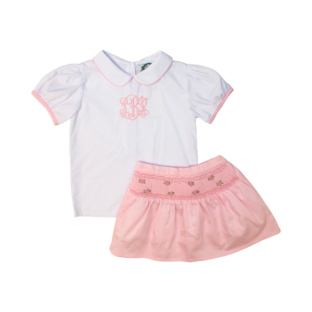 White and Pink Smocked Skirt Set