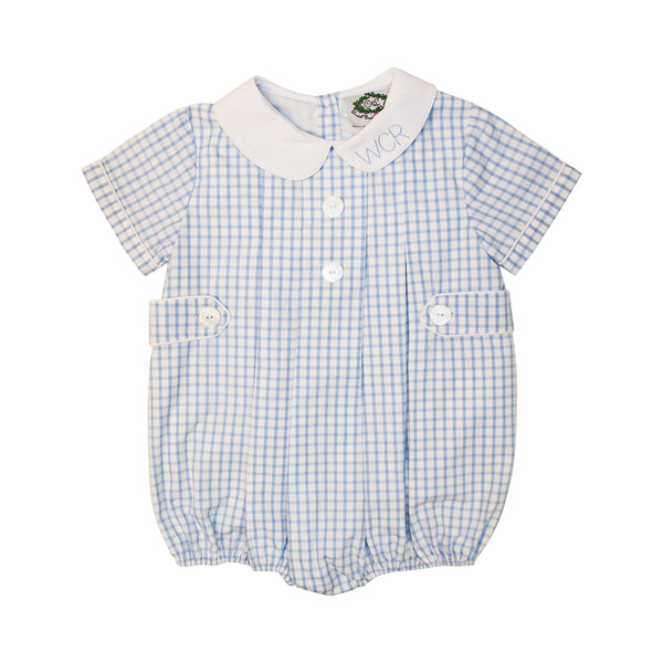 Blue Windowpane Side Button Pleated Bubble