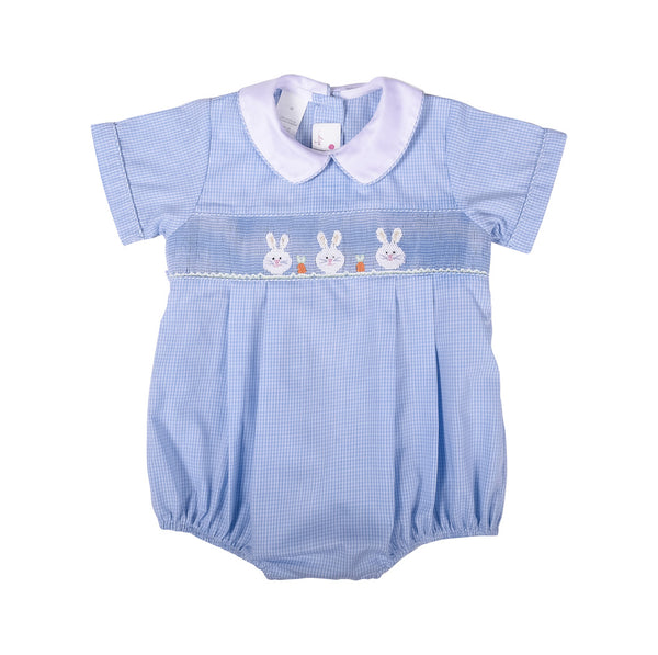 Blue Gingham Smocked Bunny Boys Bubble