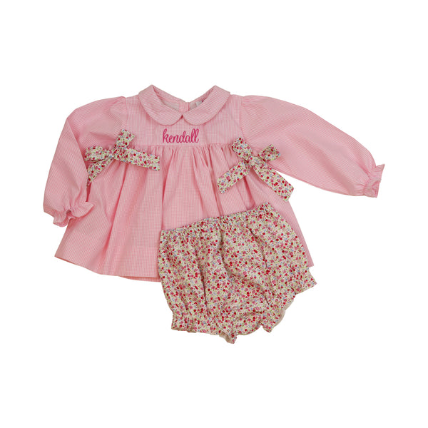 Pink Liberty Side Bow Diaper Set