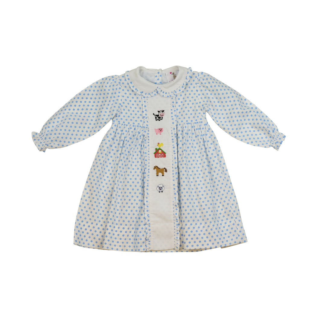 Blue Dot Embroidered Farm Dress