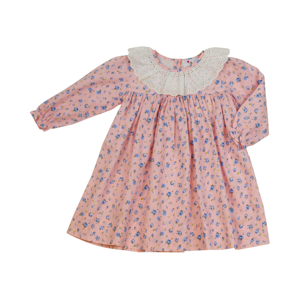 Pink and Blue Floral Eyelet Dress