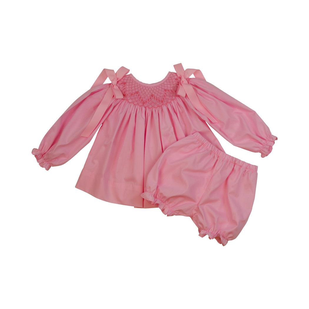 Pink Smocked Rosette Bloomer Set