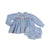 Blue Gingham Embroidered Flowers Diaper Set
