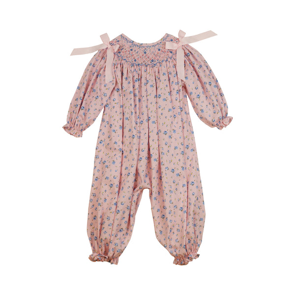 Pink and Blue Floral Smocked Long Bubble