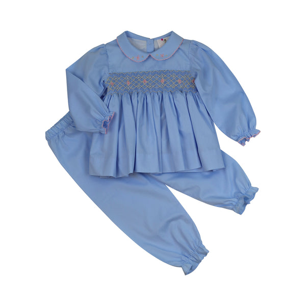 Blue Pique Smocked Rosette Pant Set