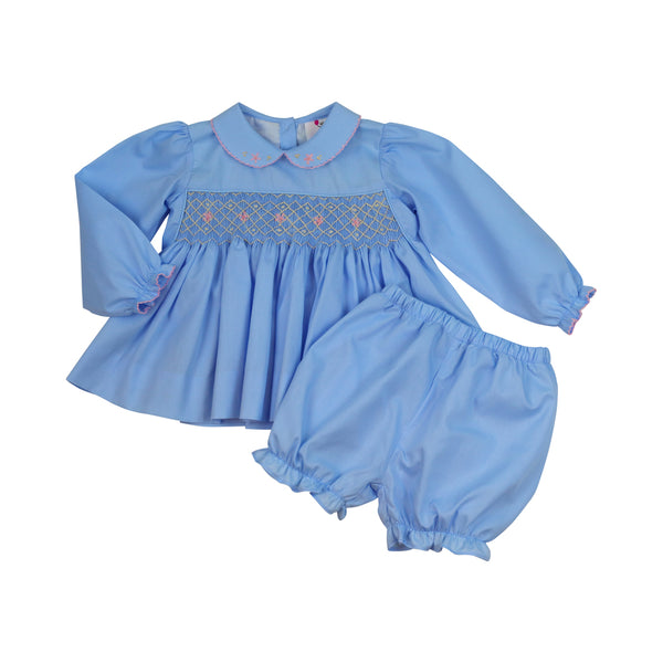 Blue Smocked Rosette Bloomer Set