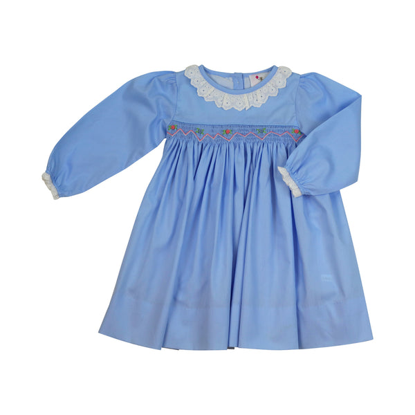 Blue Smocked Eyelet Dress
