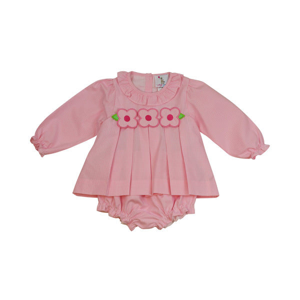 Pink Gingham Applique Flower Diaper Set