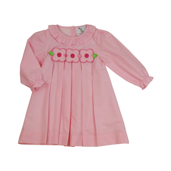 Pink Gingham Applique Flower Dress