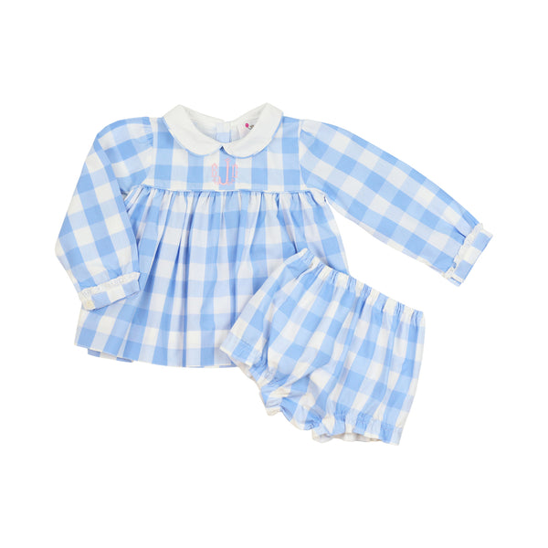 Blue Check Peter Pan Collar Diaper Set