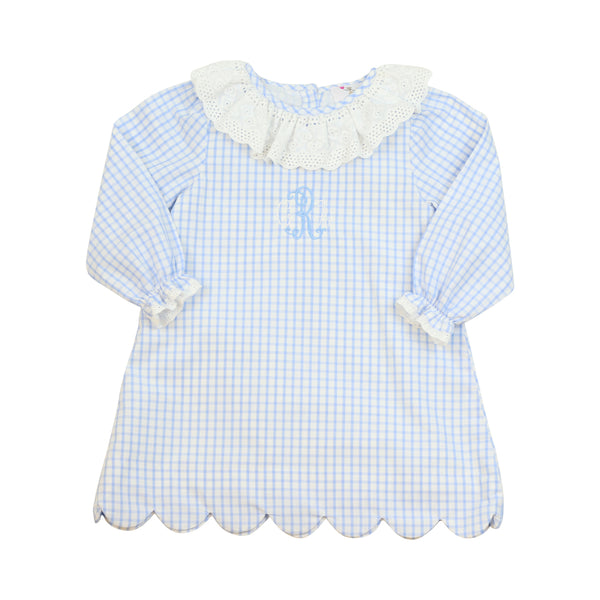 Blue Windowpane Scalloped Eyelet Dress