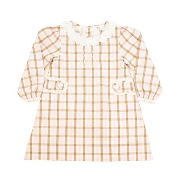 Pink and Brown Plaid Side Tab Eyelet Dress
