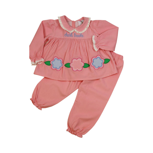 Pink Cord Applique Flower Pant Set