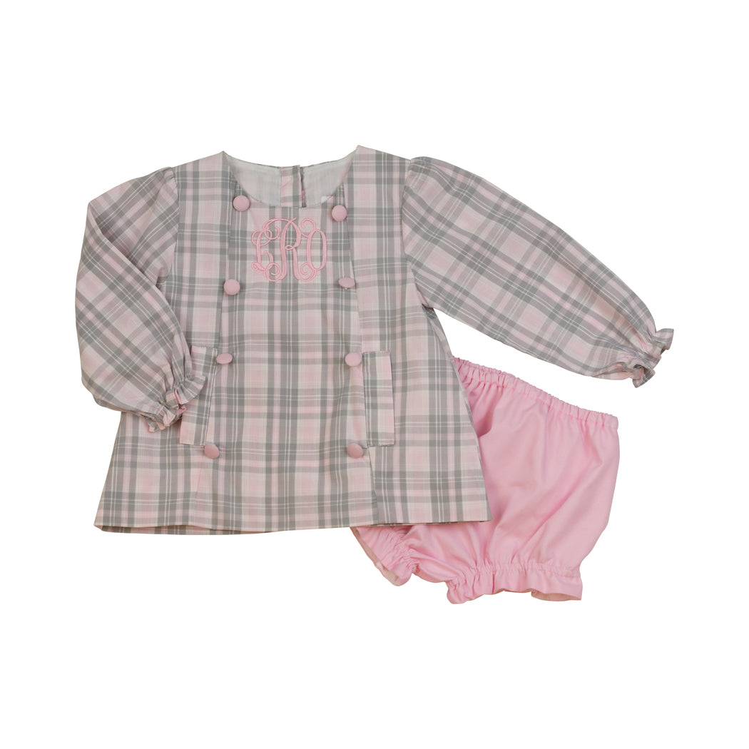 Pink and Grey Plaid Bow Diaper Set