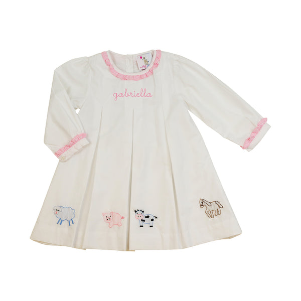 White Embroidered Farm Pleated Dress