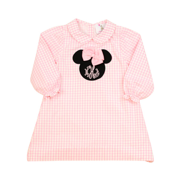 Pink Windowpane Mouse Ears Dress
