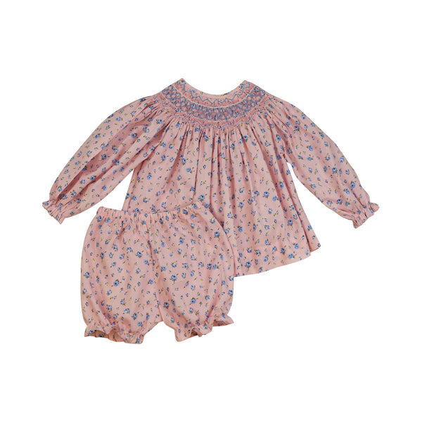 Pink and Blue Floral Smocked Rosette Bloomer Set