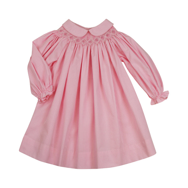 Pink Gingham Smocked Collar Bishop Dress