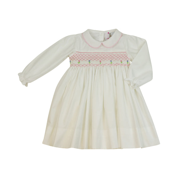 White Smocked Rosette Collar Dress