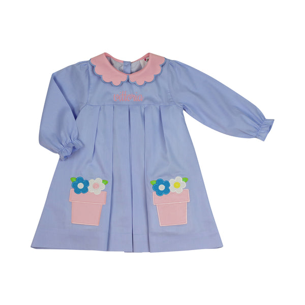 Blue Applique Flower Pots Scalloped Dress