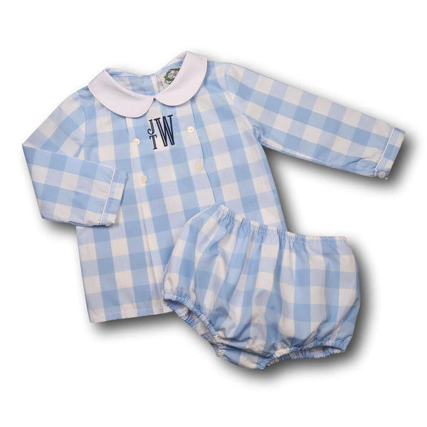 Blue Check Double Breasted Diaper Set