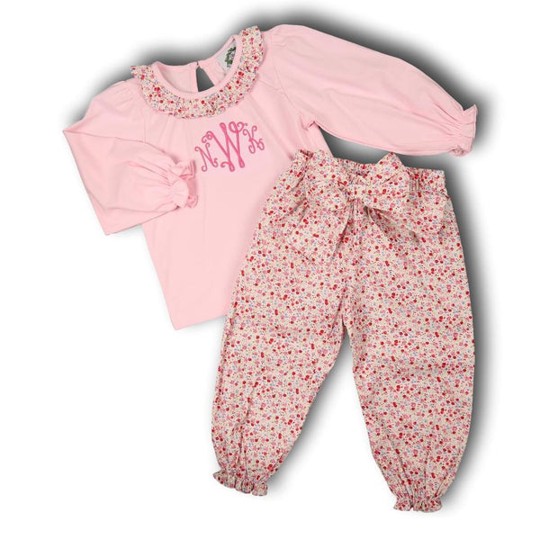 Pink Liberty Pant Set with Bow