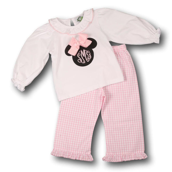 Pink Windowpane Mouse Ears Pant