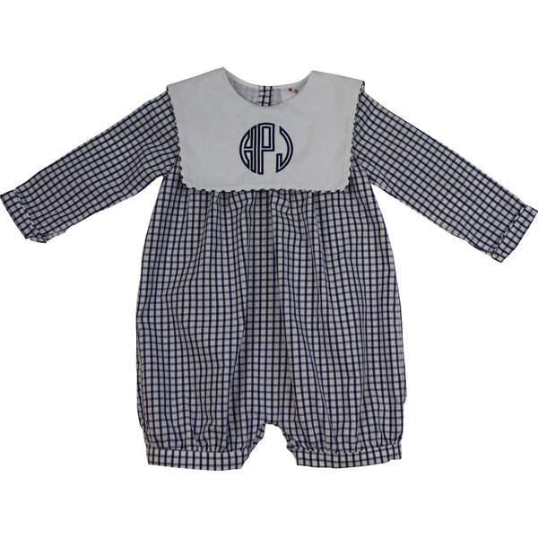 Navy Windowpane Square Collar Short Romper