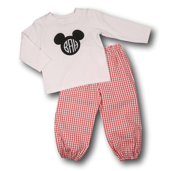 Red Windowpane Mouse Ears Pant Set