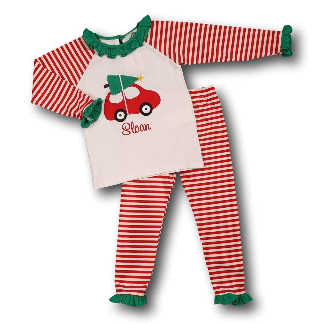 Red Stripe Car and Christmas Tree Ruffle Knit PJ Set