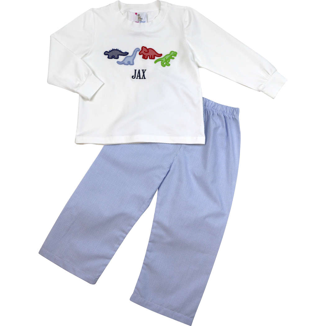 Blue Gingham Dinosaur Pant Set