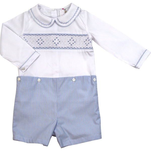 Blue Gingham Smocked Button-On Suit
