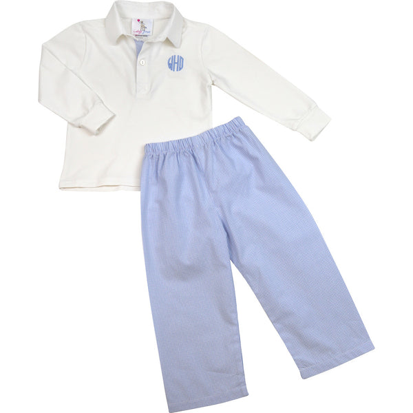 Blue Gingham Polo Pant Set