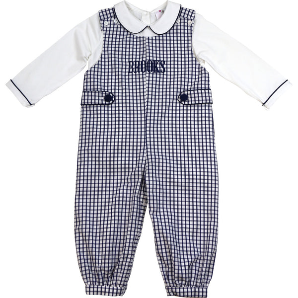 Navy Windowpane Side Tabs Long Romper (Shirt Included)