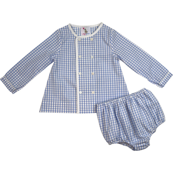 Blue Windowpane Double Breasted Diaper Set
