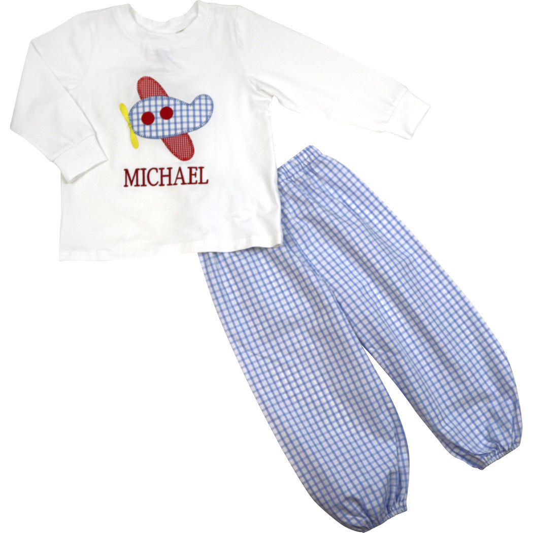 Blue Windowpane Airplane Pant Set