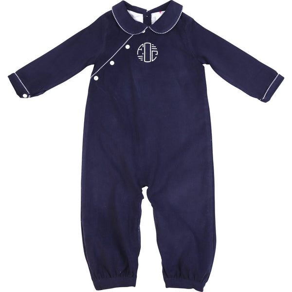 Navy Cord Long Romper