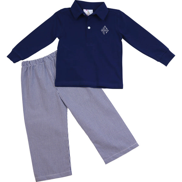 Navy Gingham Polo Pant Set