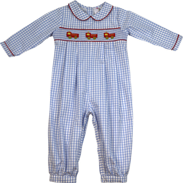 Blue Windowpane Smocked Firetruck Long Romper