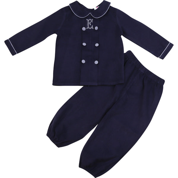 Navy Cord Double Breasted Pant Set